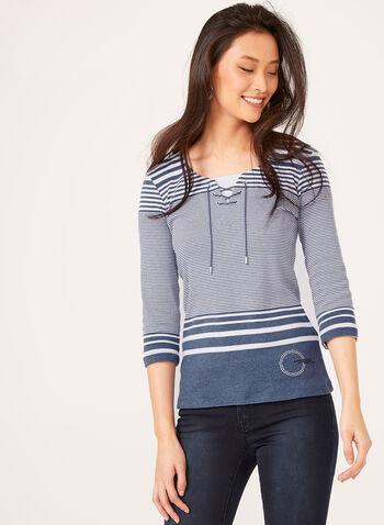Nautical Stripe Print Top, Blue, hi-res