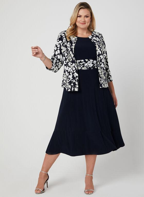 Ensemble robe et veste avec imprimé floral, Bleu