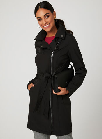 BCBGeneration - Lapel Collar Trench Coat, Black, hi-res