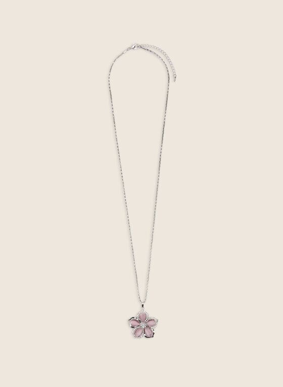 Long Flower Pendant Necklace, Pink