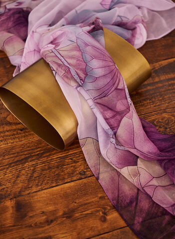 Foulard léger à motif floral , Violet,  spring summer 2021, accessory, scarf, oblong scarf, chiffon, light, floral, print, pattern