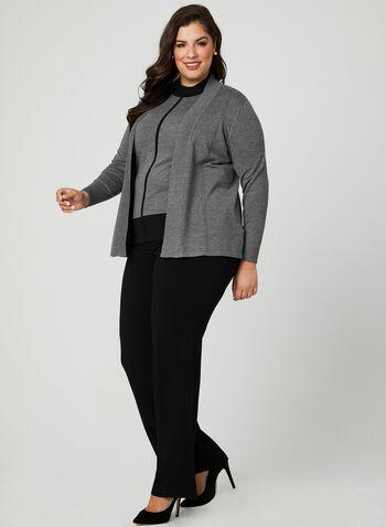 Long Sleeve Knit Cardigan, Grey, hi-res