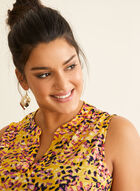 Flower Petal Print Top, Yellow