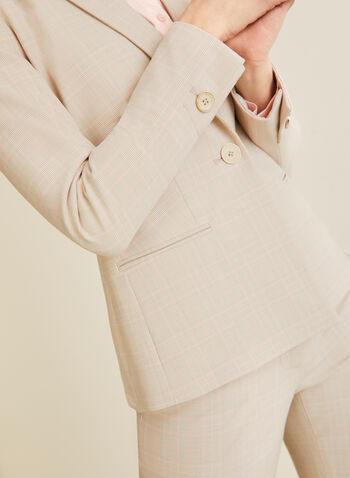 Veste à col cranté et carreaux, Blanc,  veste, col cranté, tartan, un bouton, poches, printemps été 2020
