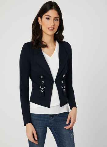 Grommet Detail Jacket, Blue, hi-res,