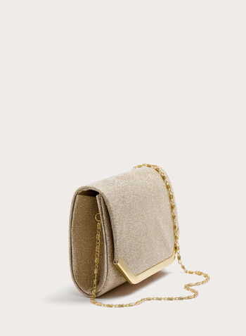 Rectangular Glitter Flapover Clutch, Gold, hi-res