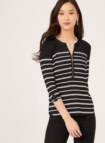 ¾ Sleeve Henley Top, Black, hi-res