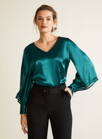 Tiered Balloon Sleeve Blouse, Green,  top, satin, blouse, long sleeves, bubble, v-neck, fall winter 2020