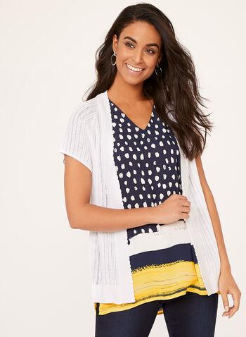 Short Sleeve Pointelle Knit Cardigan, White, hi-res
