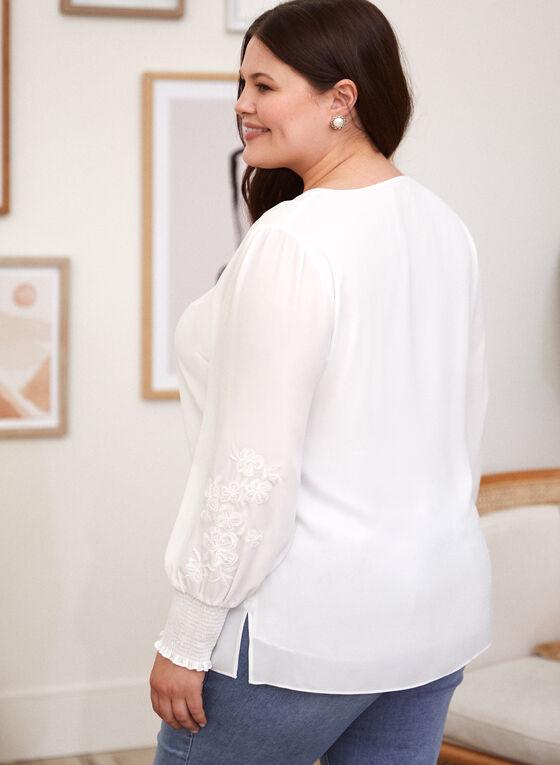 Long Smocked Sleeve Blouse, Off White