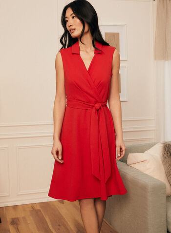 Johnny Collar Crossover Dress, Red,  dress, day, johnny collar, v-neck, crossover, sash, belt, tie, high low, fit flare, sleeveless, scuba crepe, spring summer 2021