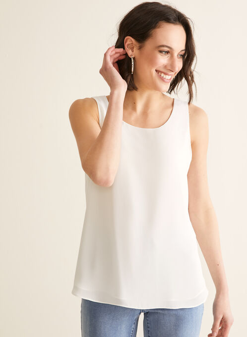 Sleeveless Crepe Blouse, Off White