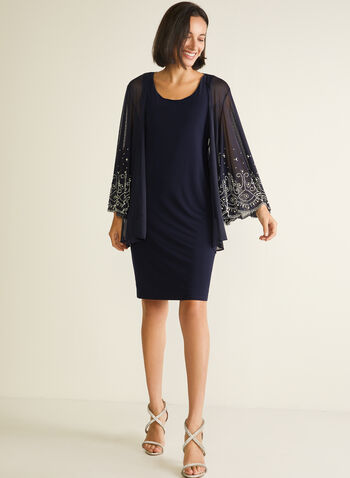 Marina - Dress & Embellished Cardigan Set, Blue,  cocktail dress, cardigan, chiffon, pearls, rhinestones, embellished, spring summer 2020