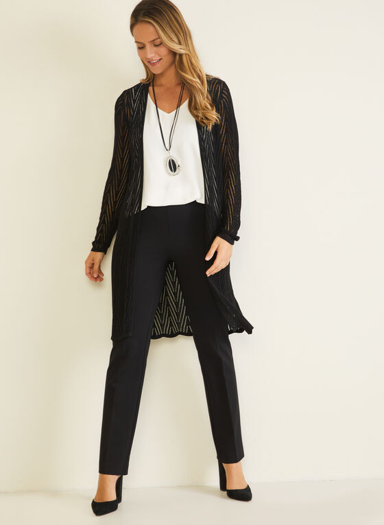 Cardigan long en tricot pointelle, Noir