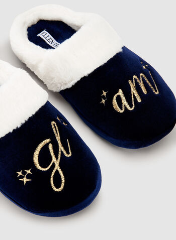 Ellen Tracy - Embroidered Velour Slippers, White, hi-res