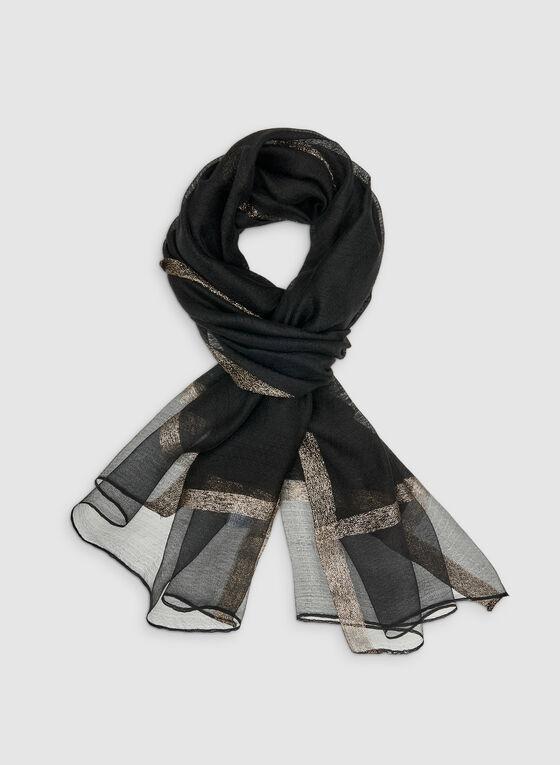 Metallic Trim Scarf, Black