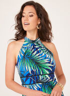 Leaf Print Halter Neck Maxi Dress, Blue, hi-res