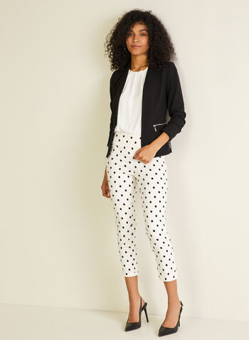 Jules & Leopold - Polka Dot Pull-On Capris, White,  capri, pull-on, polka dot, slim leg, spring summer 2020