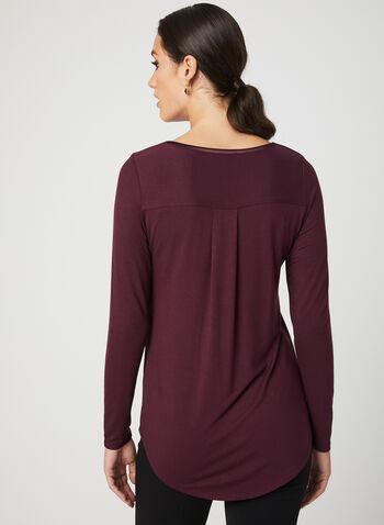 T-shirt à manches longues et bordure satinée , Rouge, hi-res