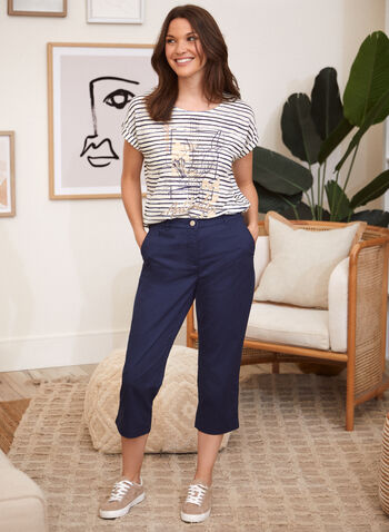 Cotton Straight Leg Capris , Blue,  spring summer 2021, made in canada, cotton, capris, pants, button, zipper, belt loops, detail, embroidered, pockets