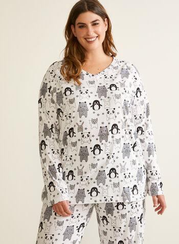 Ensemble pyjama à motif d'animaux, Noir,  automne hiver 2020, pyjama, ensemble