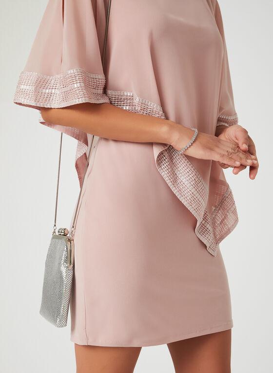 Robe poncho à ourlet texturé, Rose, hi-res
