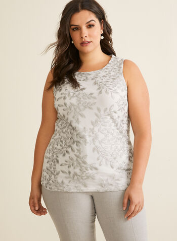 Sleeveless Embroidered Top, Grey,  top, sleeveless, embroidered, mesh fabric, scoop neckline, Spring 2020