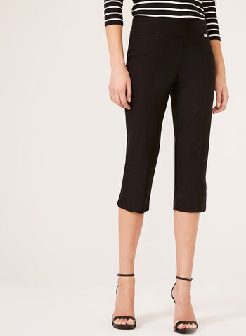 Slim Leg Pull-On Capris, Black, hi-res