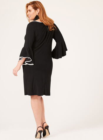 ¾ Bell Sleeve Sheath Dress, Black, hi-res