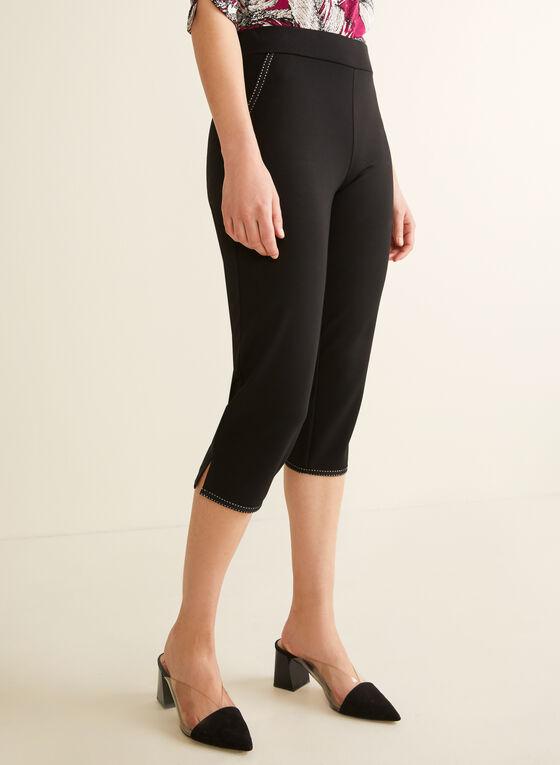 Contrast Stitch Capri Pants, Black