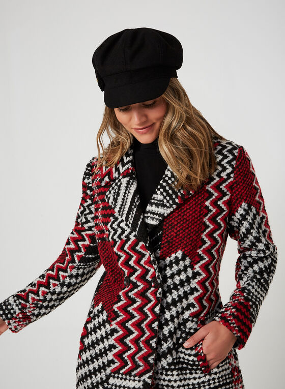 Patchwork Print Coat, Black