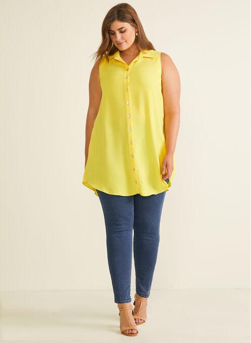 Button Down Tunic Blouse, Yellow