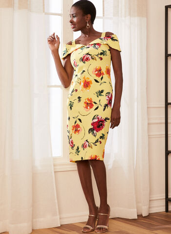 Joseph Ribkoff - Floral Off-the-Shoulder Dress, Yellow,  dress, off the shoulder, ribkoff, lyman, floral, sheath, jersey, made in Canada, spring summer 2021
