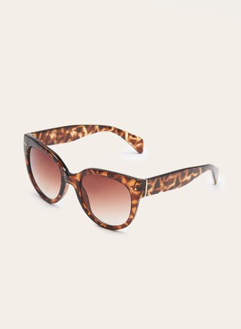 Cat-Eye Tort Sunglasses, Brown, hi-res
