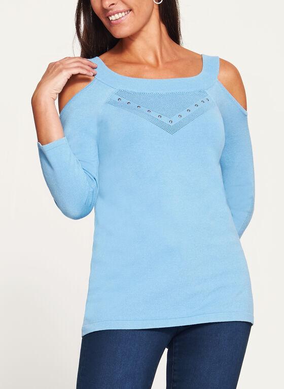 Pointelle Detail Cold Shoulder Sweater, Blue, hi-res