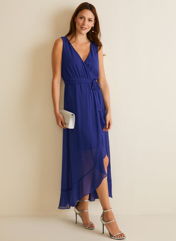 Ruffled Detail Chiffon Dress, Blue,  evening dress, sleeveless, v-neck, pleated, tie belt, chiffon, ruffled, tulip hemline, high low hemline, lined, spring summer 2020
