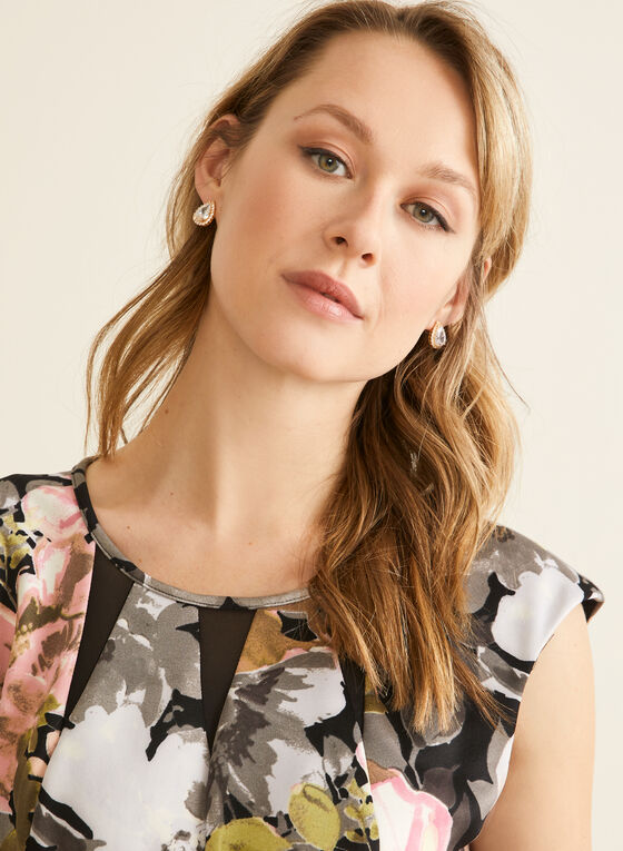 Fit & Flare Floral Print Dress, Black