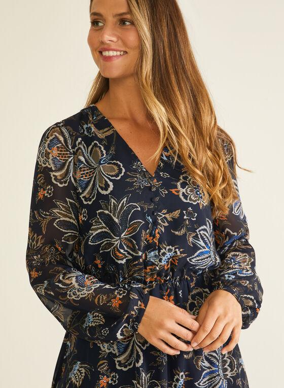 Floral Print Chiffon Dress, Blue
