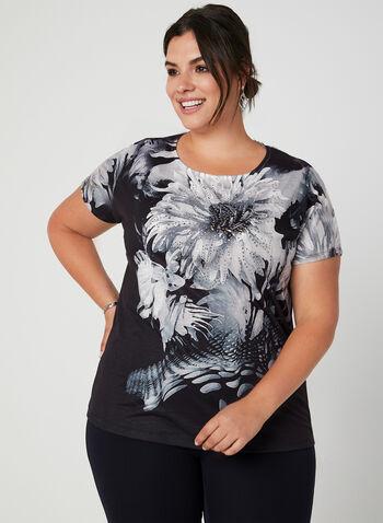 T-shirt à imprimé floral et cristaux, Noir, hi-res,  fleurs, motif, motifs, dentelle, crochet, manches courtes, automne hiver 2019
