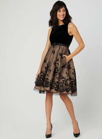 Floral Print Velvet Dress , Black, hi-res,
