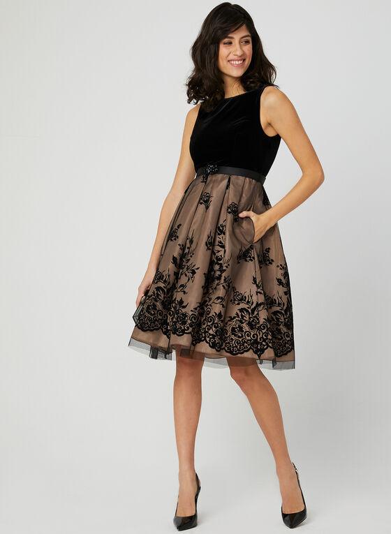 Robe en velours avec jupe fleurie, Noir