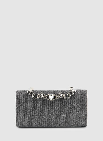 Box Evening Clutch, Silver,  Fall winter 2019, clutch, crystal, glitter