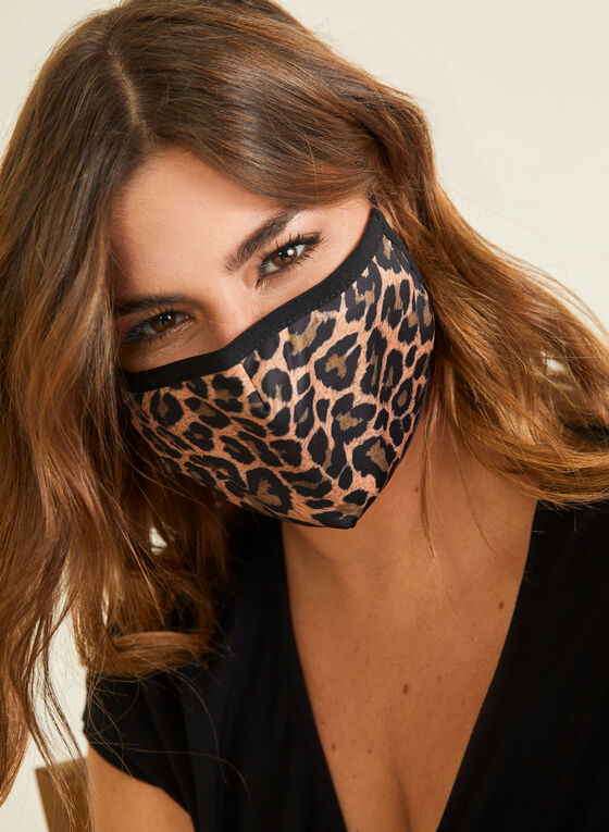 Masque en tissu motif léopard en coton, Noir
