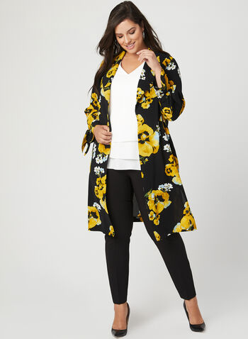 Floral Print Crepe Duster Jacket, Yellow, hi-res