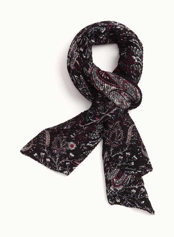 Leaf Print Oblong Scarf, Black, hi-res