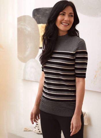 Stripe Print Sweater, Grey,  fall winter 2021, tops, sweaters, knitted, striped, stripes, elbow sleeves,
