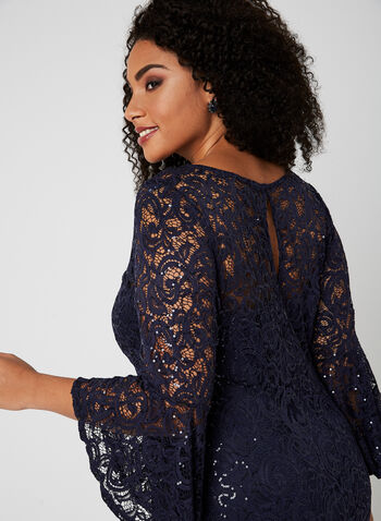 Sequin Lace Illusion Neck Dress, Blue, hi-res