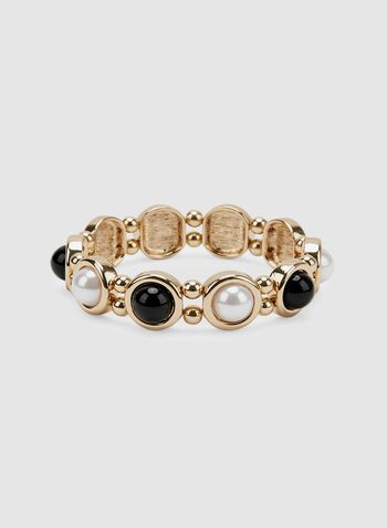 Stretch Pearl Bracelet, Black, hi-res