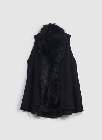 Faux Fur Trim Vest, Black, hi-res