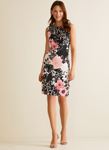 Floral Print Sleeveless Day Dress, Pink,  day dress, scoop neck, sleeveless, floral, sheath, spring summer 2020
